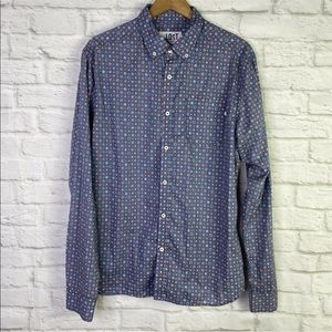 ...Lost Printed Button Up Long Sleeve Lightweight